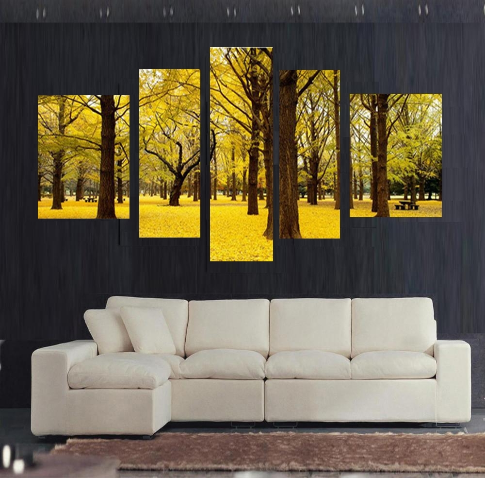 Free Shipping 5Pcs Autumn Scenery Yellow Leaves Home Decor Wall Art Inside Best And Newest Yellow Wall Art (View 5 of 20)
