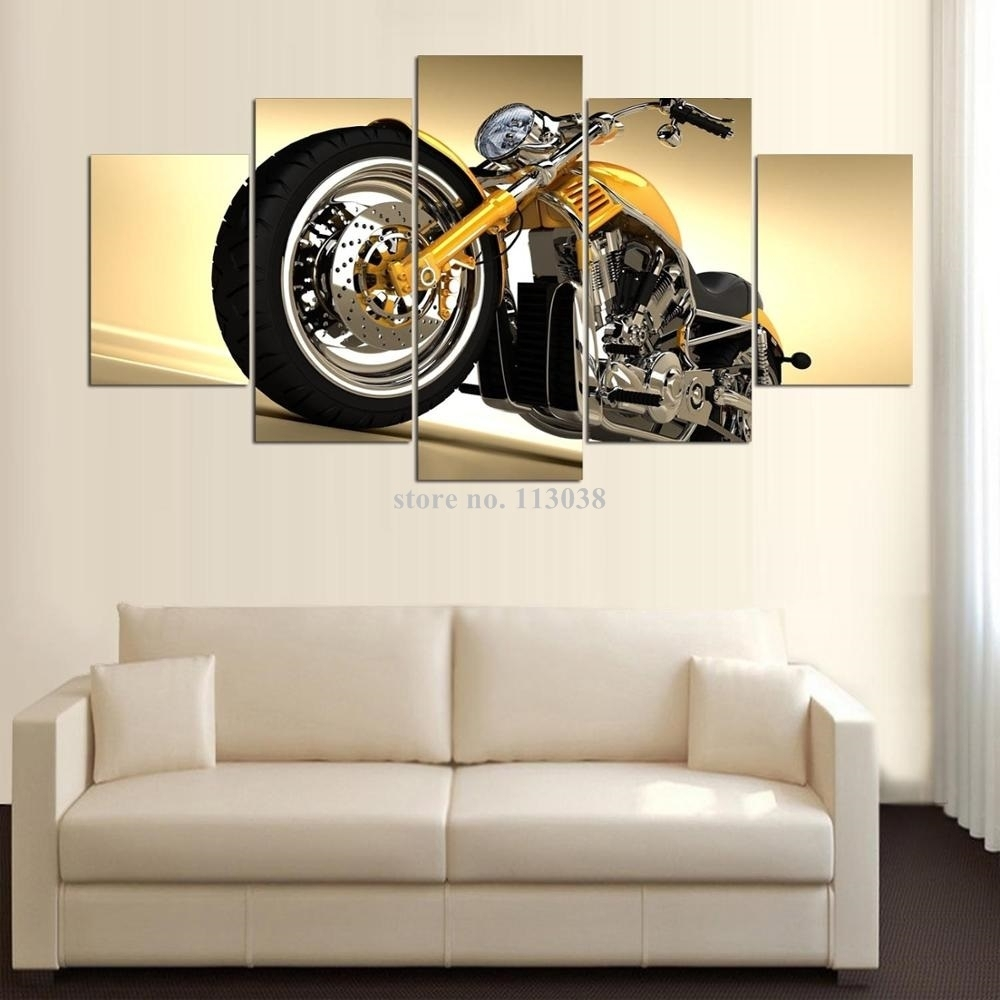 Free Shipping High Quality Hd 5 Pieces Motorcycle Printed Canvas Pertaining To Most Popular Motorcycle Wall Art (Gallery 20 of 20)