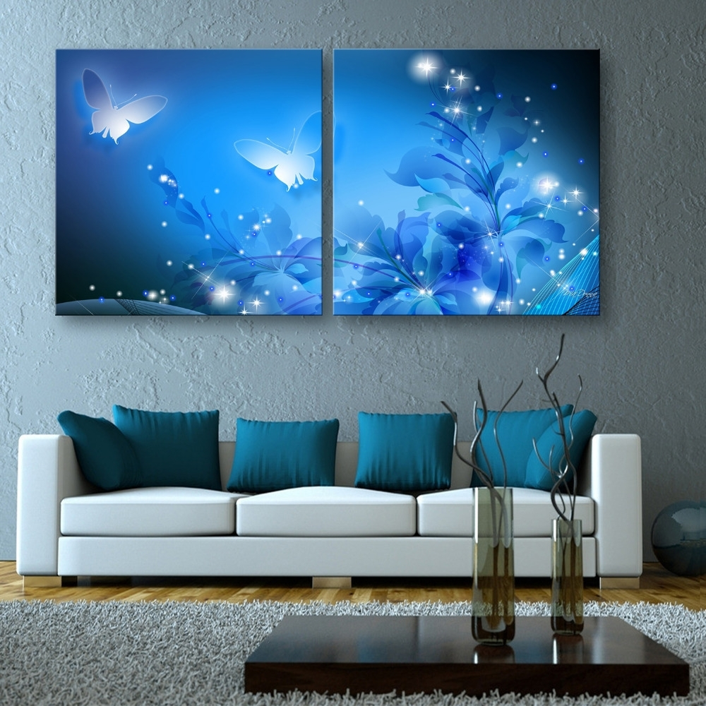 Free Shipping Stretched Canvas Prints Shining Butterfly Led Flashing Intended For Most Current Led Wall Art (Gallery 5 of 20)