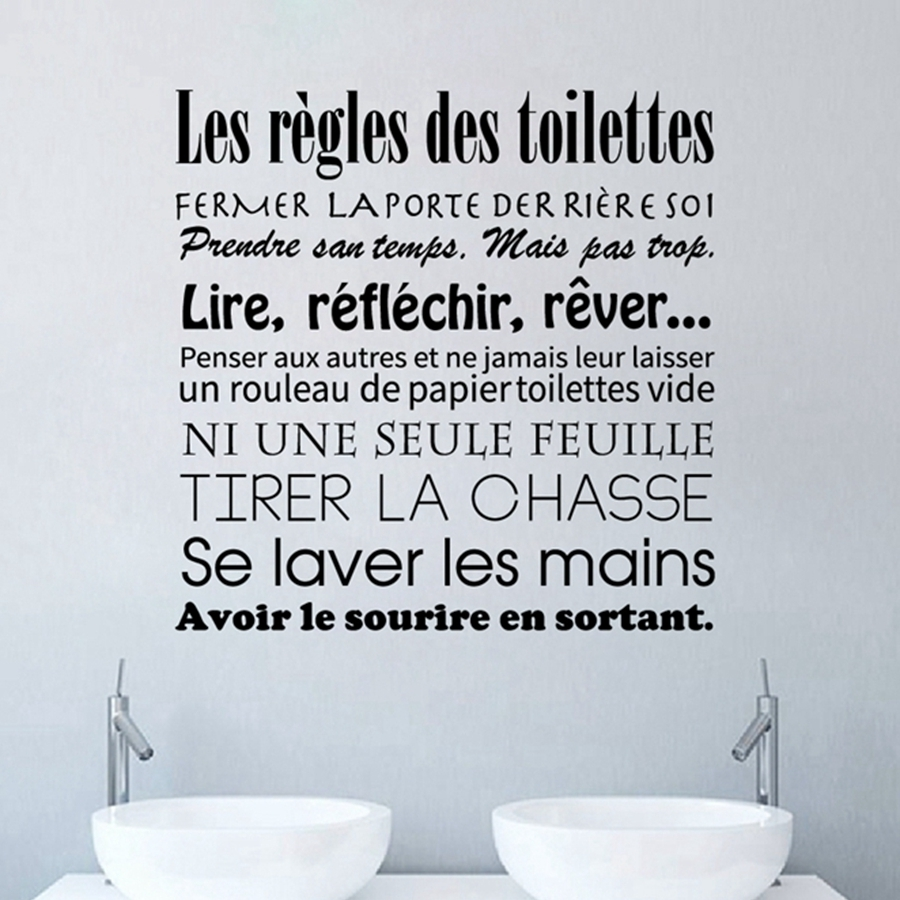 French Bathroom Rules Wall Stickers French Toilet Rules Vinyl Wall For Latest Bathroom Rules Wall Art (View 13 of 20)