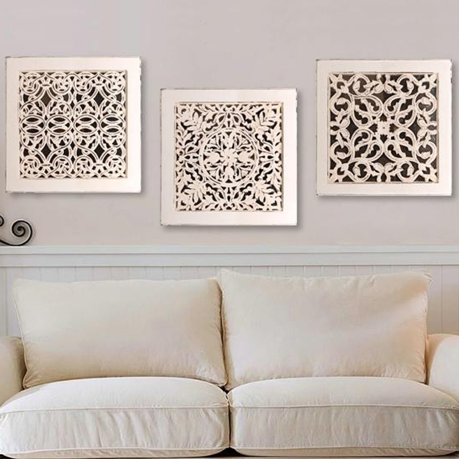 Fretwork Wall Art: White (Set Of 3) | The Yellow Door Store Throughout Most Popular White Wall Art (View 9 of 20)