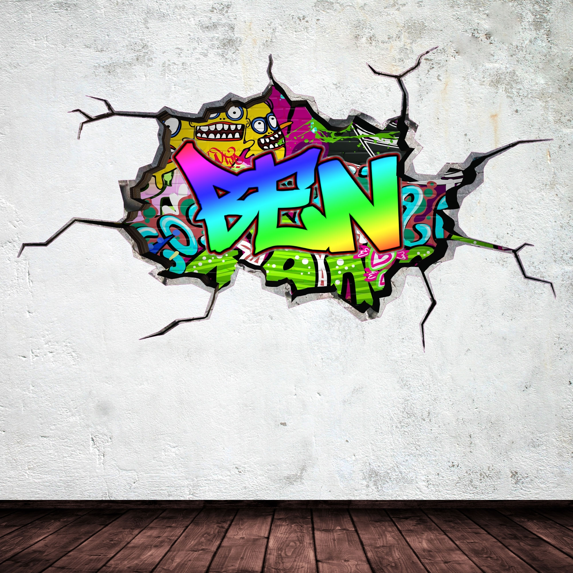 Full Colour Personalised 3D Graffiti Name Cracked Wall Art Stickers Inside Most Recently Released Name Wall Art (View 4 of 20)