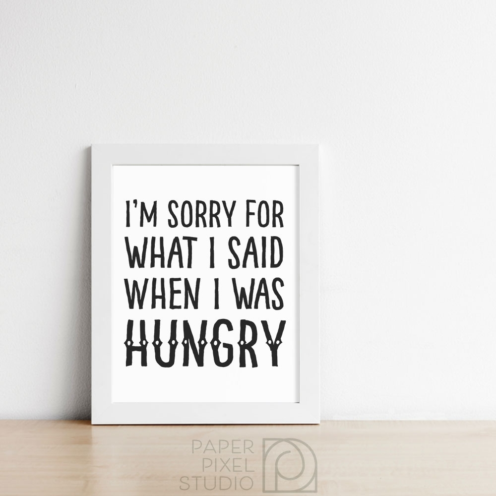 Funny Printable, Kitchen Wall Art, Printable Wall Art, Hangry Art pertaining to 2018 Wall Art For Kitchen