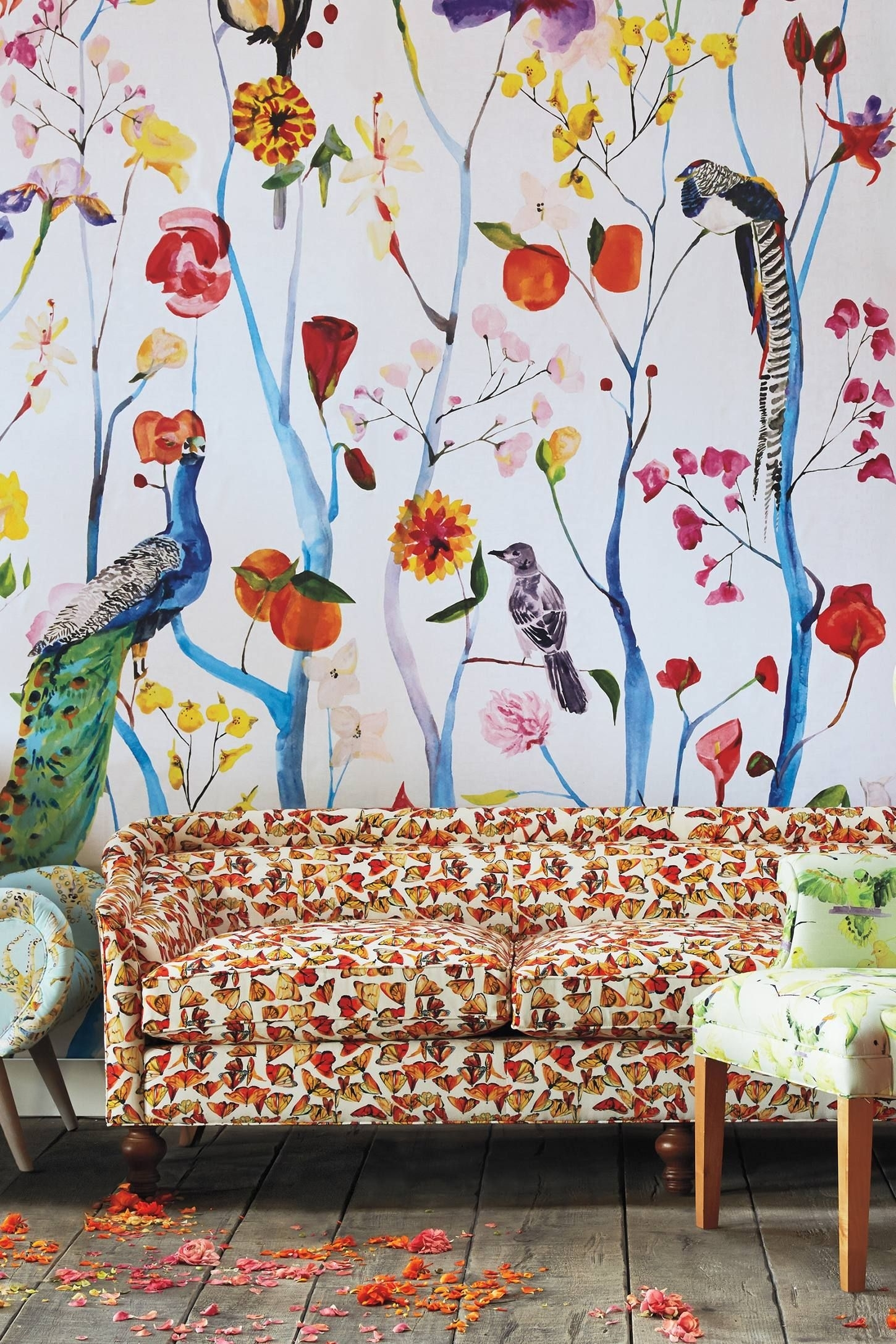 Garden Chinoiserie Mural | Home: Guest Room | Pinterest Throughout Best And Newest Anthropologie Wall Art (Gallery 1 of 20)