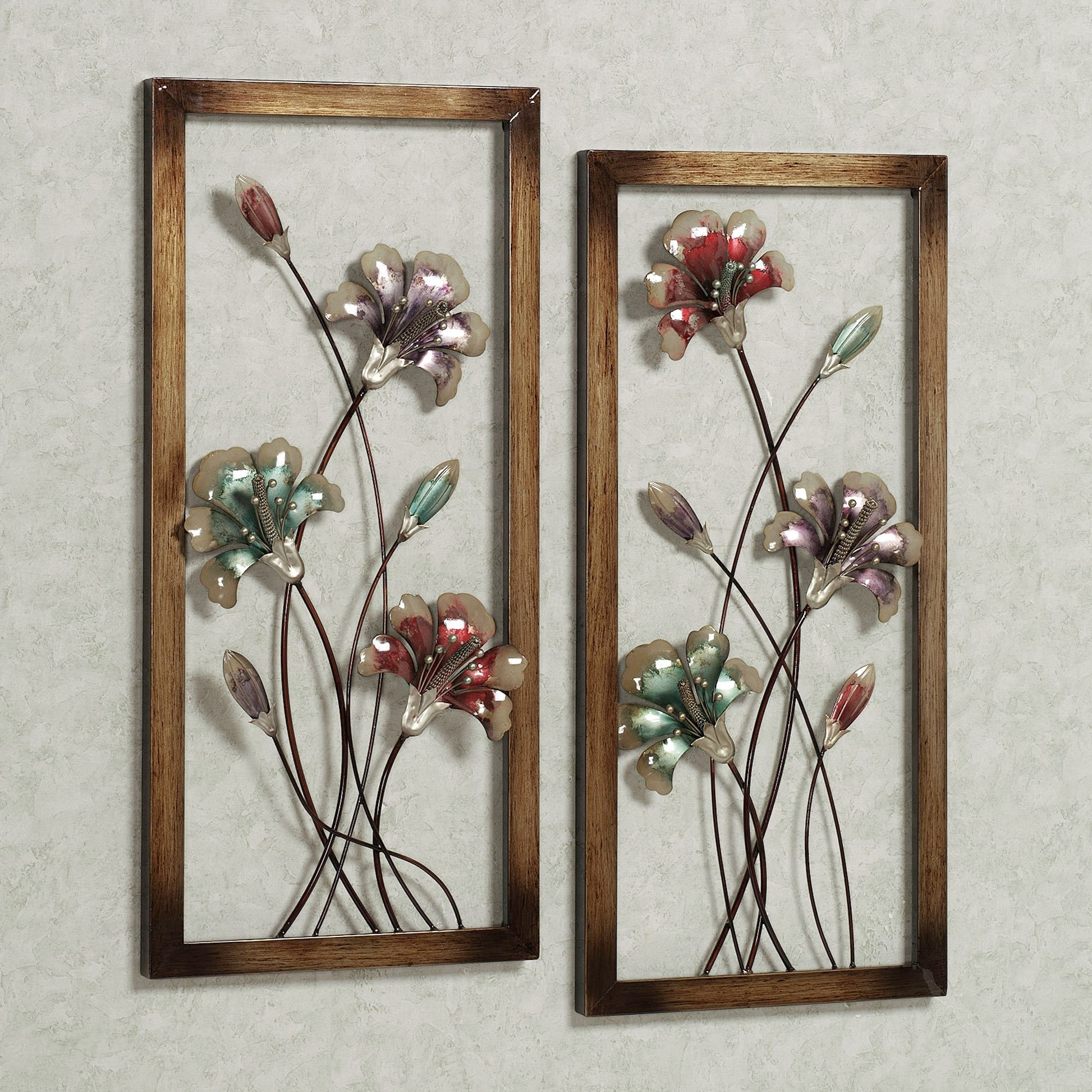Garden Whispers Floral Metal Wall Art Panel Set Throughout Best And Newest Metal Flower Wall Art (Gallery 4 of 15)