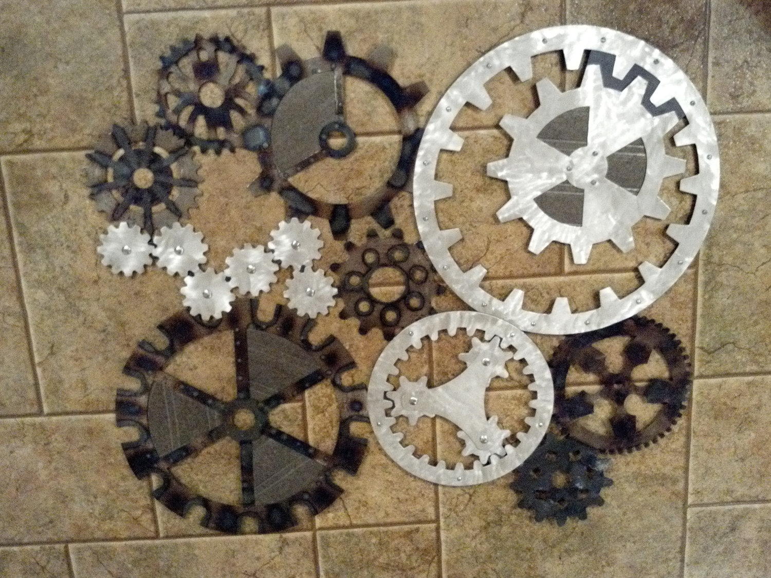 Gears Art Industrial Steampunk Wall Decor Made Darkhorsegarage New Throughout Most Popular Steampunk Wall Art (View 7 of 20)