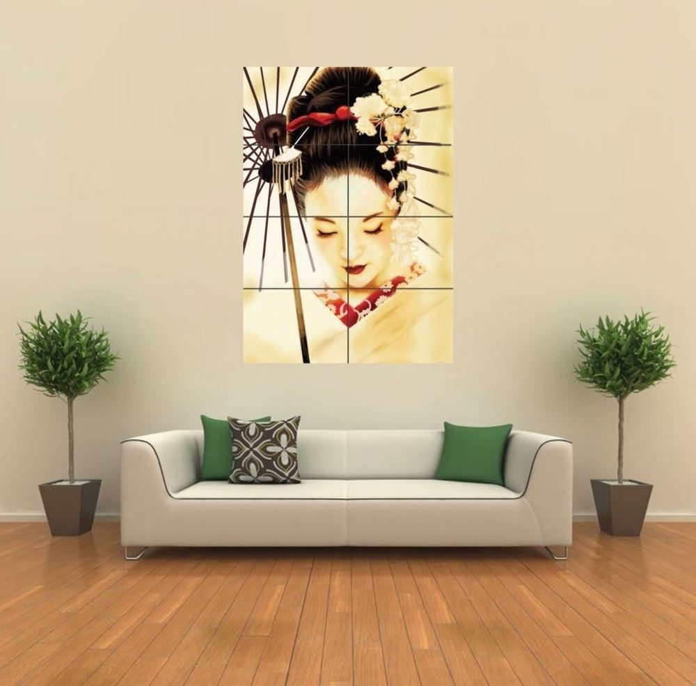 Geisha Japanese New Giant Poster Wall Art Print Picture G347 | Print Regarding Current Japanese Wall Art (Gallery 6 of 20)