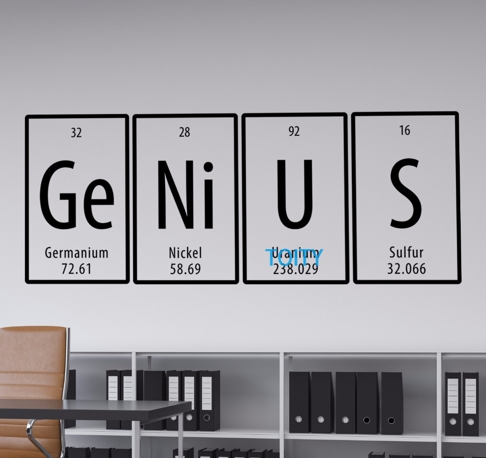 Genius Quote Periodic Table Wall Vinyl Decal Room Sticker Decor Art Regarding 2018 Periodic Table Wall Art (View 5 of 20)