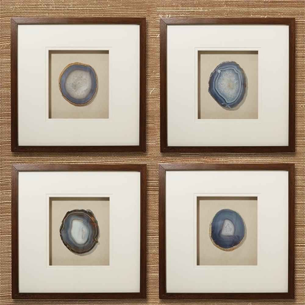 Genuine Geode And Agate Wall Art Set Of 4tozai Home – Seven Colonial Throughout Most Popular Agate Wall Art (View 10 of 20)