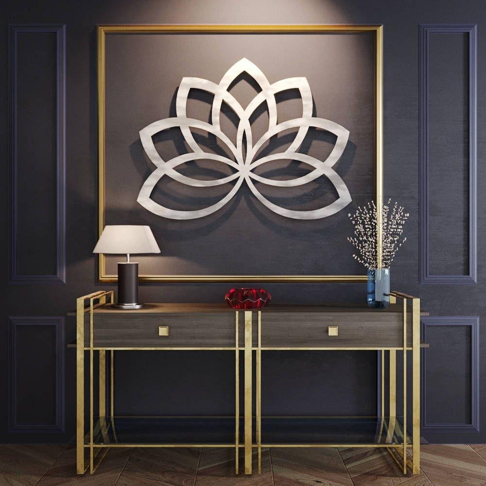 Geometric Lotus Flower Metal Wall Art, Metal Flower Wall Art, Large Pertaining To Recent Metal Flowers Wall Art (View 7 of 20)
