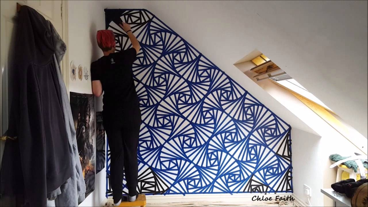 Geometric Wall Art Paint – Chloe Faith – Youtube Pertaining To Most Up To Date Geometric Wall Art (View 13 of 20)