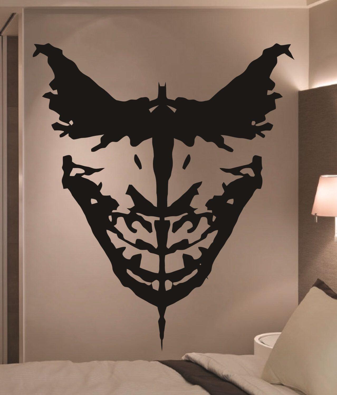 Giant Batman & Joker Ink Blot Comic Vinyl Wall Art Sticker Home With Newest Joker Wall Art (Gallery 9 of 20)
