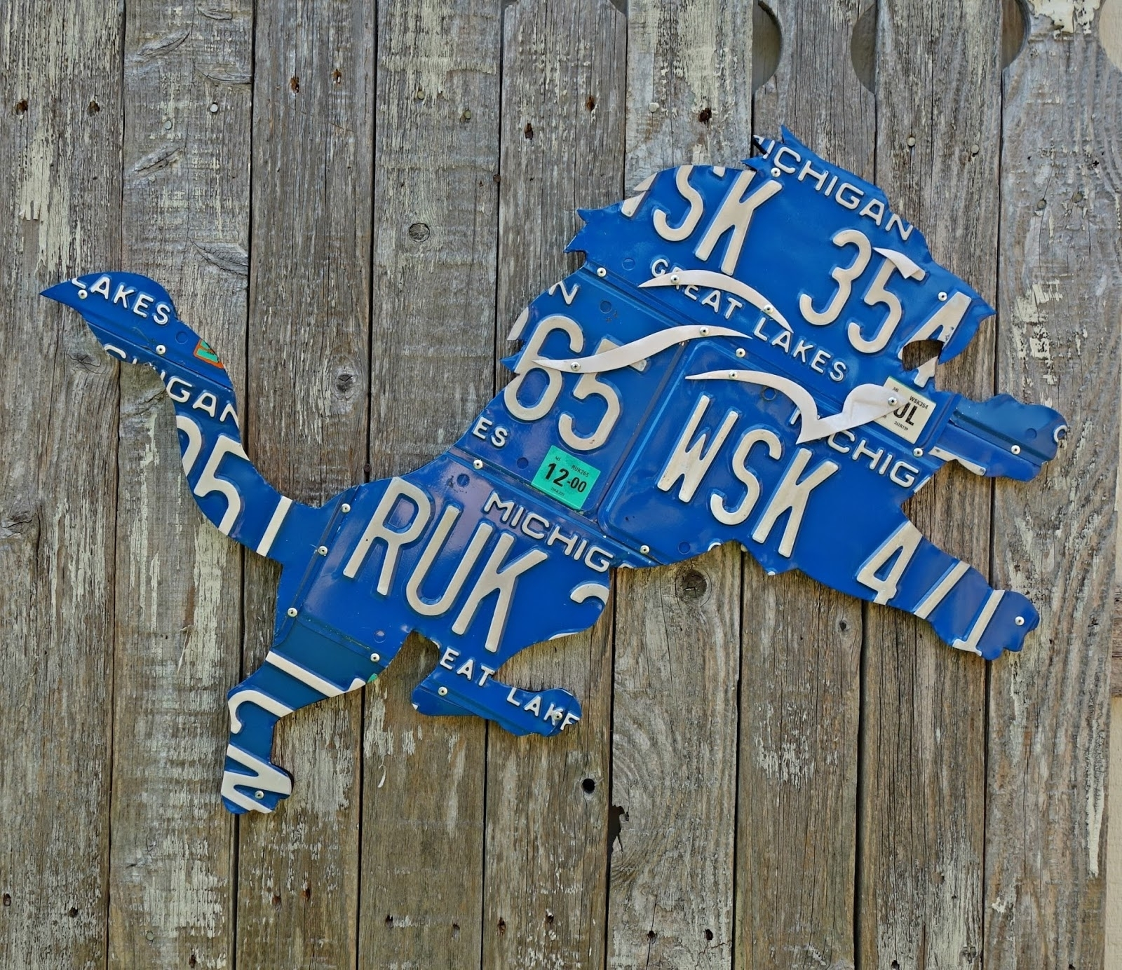 Giant Detroit Lions Great Lakes Michigan License Plate Logo Wall Art Within Best And Newest Michigan Wall Art (View 6 of 20)