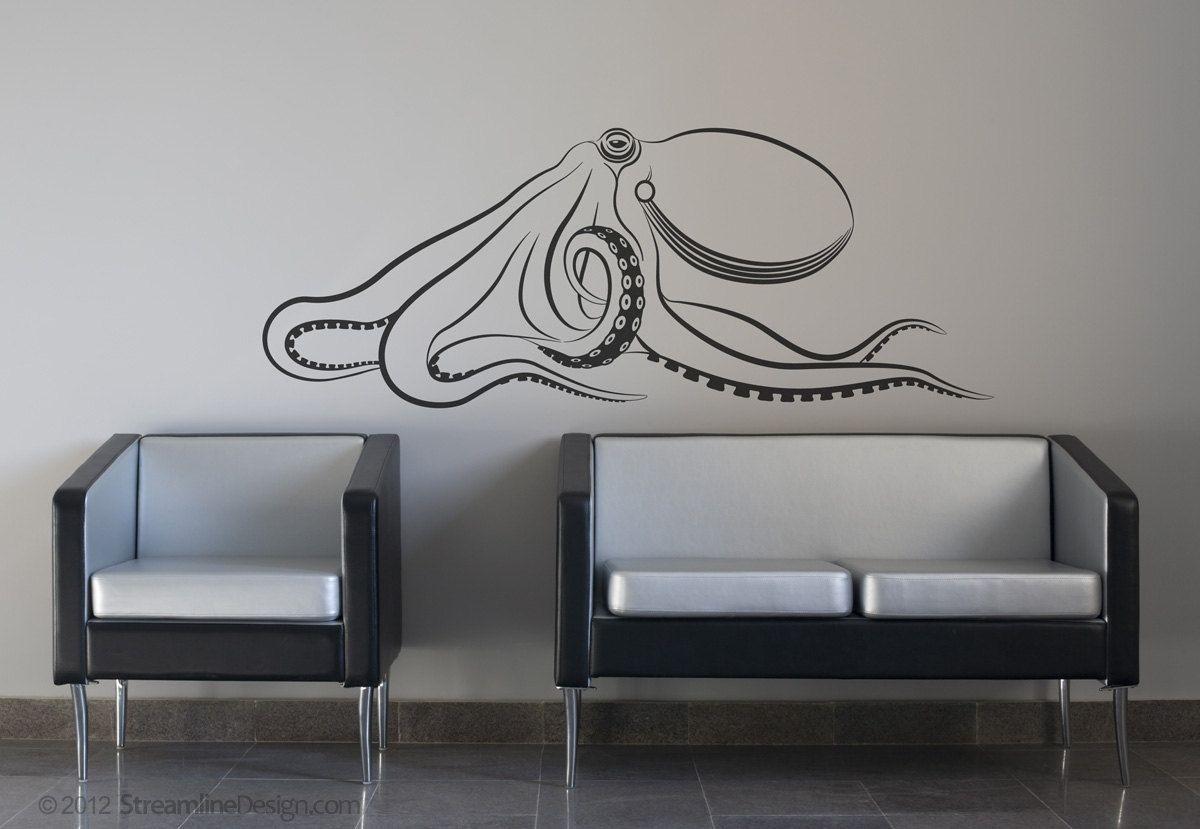 Giant Octopus Wall Decal | Large Octopus Decal Kraken Squid Wall With Regard To Most Current Octopus Wall Art (Gallery 3 of 20)