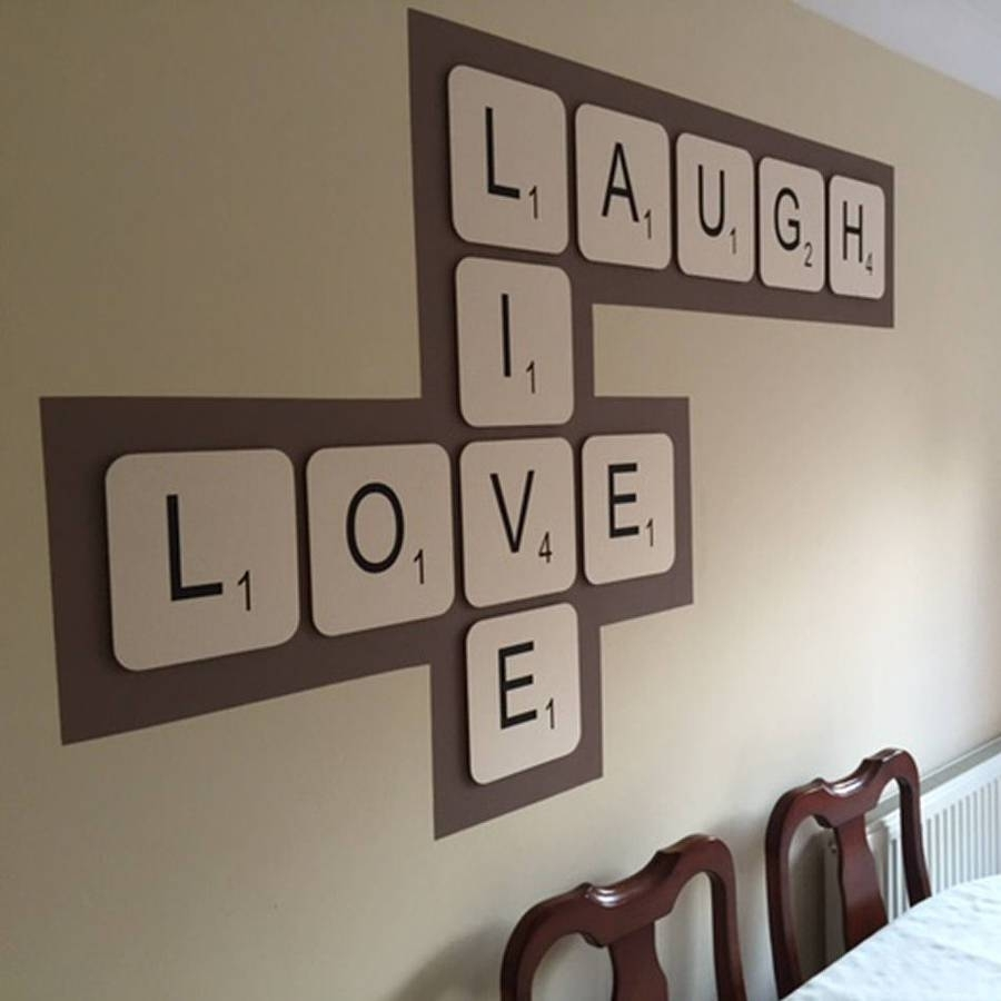 Giant Scrabble Wall Lettercopperdot, Large Letter Wall Art – The Inside Most Popular Scrabble Wall Art (View 15 of 20)