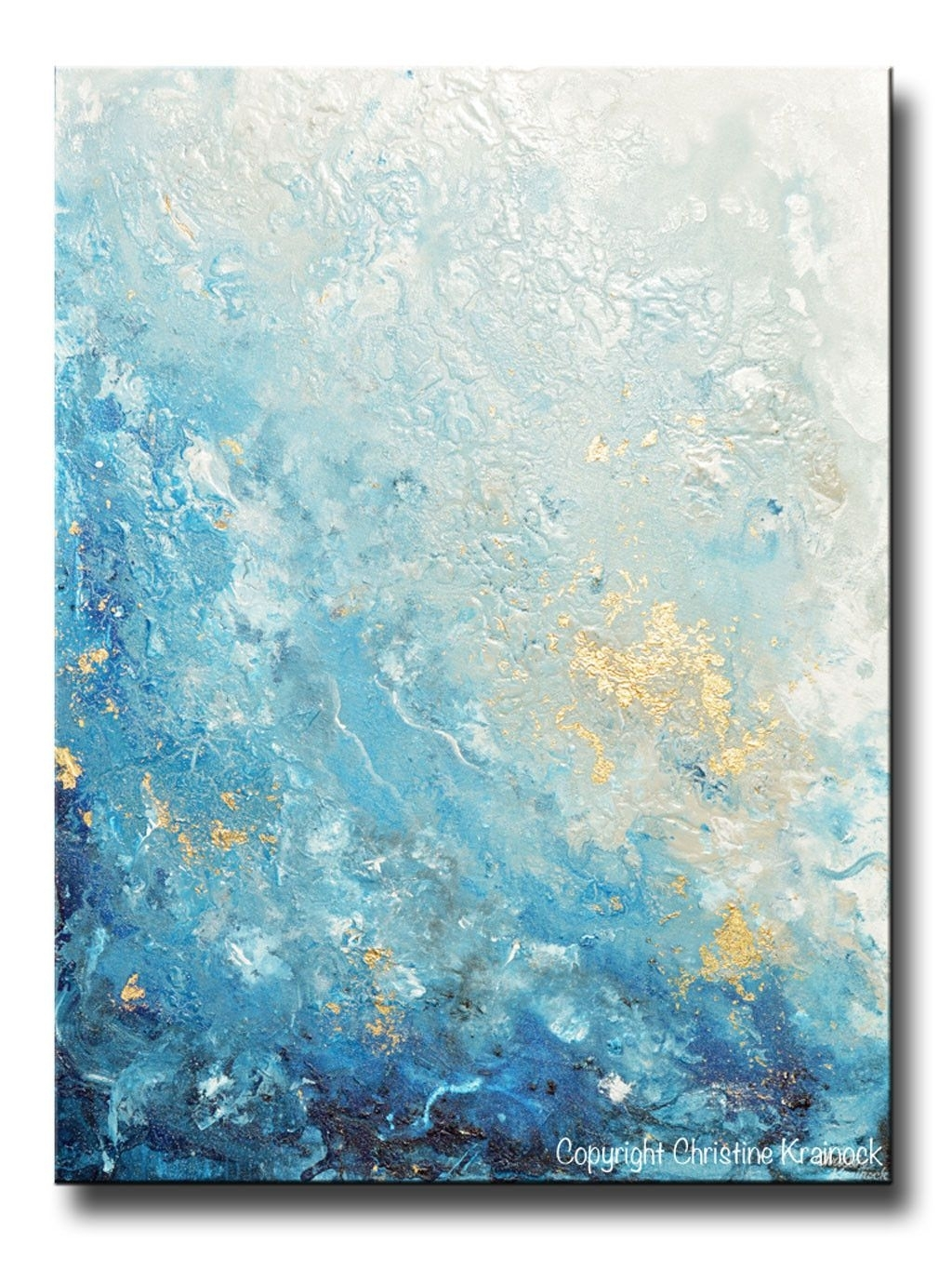 Giclee Print Art Abstract Painting Ocean Blue White Seascape Coastal Within Most Popular Oversized Teal Canvas Wall Art (View 13 of 20)