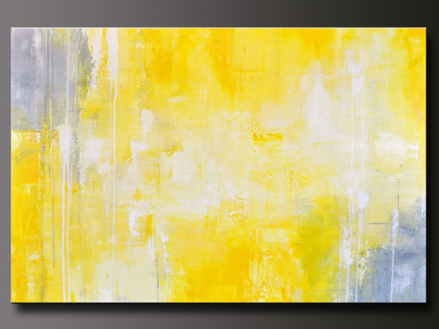 Giclee Print Art Yellow Grey Abstract Painting Modern Coastal Wall Pertaining To Latest Yellow Wall Art (View 15 of 20)