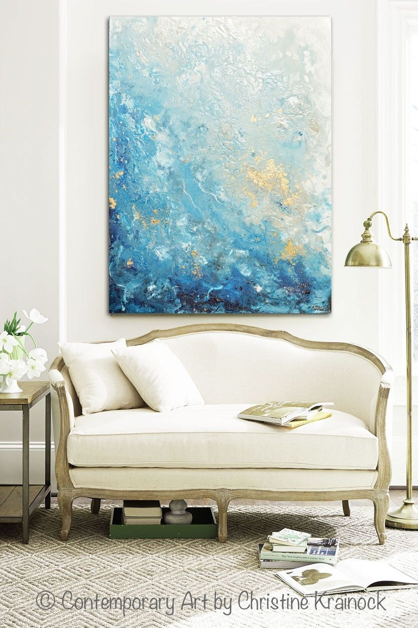 Giclee Print Large Art Abstract Painting Blue White Wall Art Home With Regard To Most Up To Date Large Coastal Wall Art (Gallery 2 of 20)