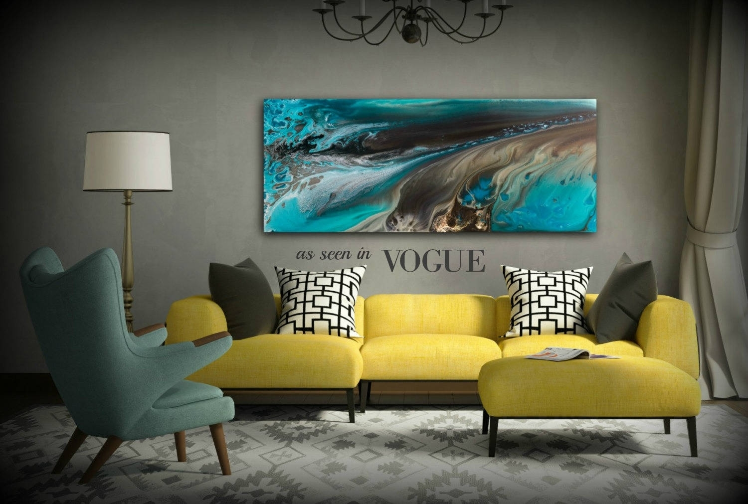 Giclee Prints Art Abstract Painting Coastal Home Decor Modern Canvas Intended For Most Recent Large Coastal Wall Art (View 17 of 20)