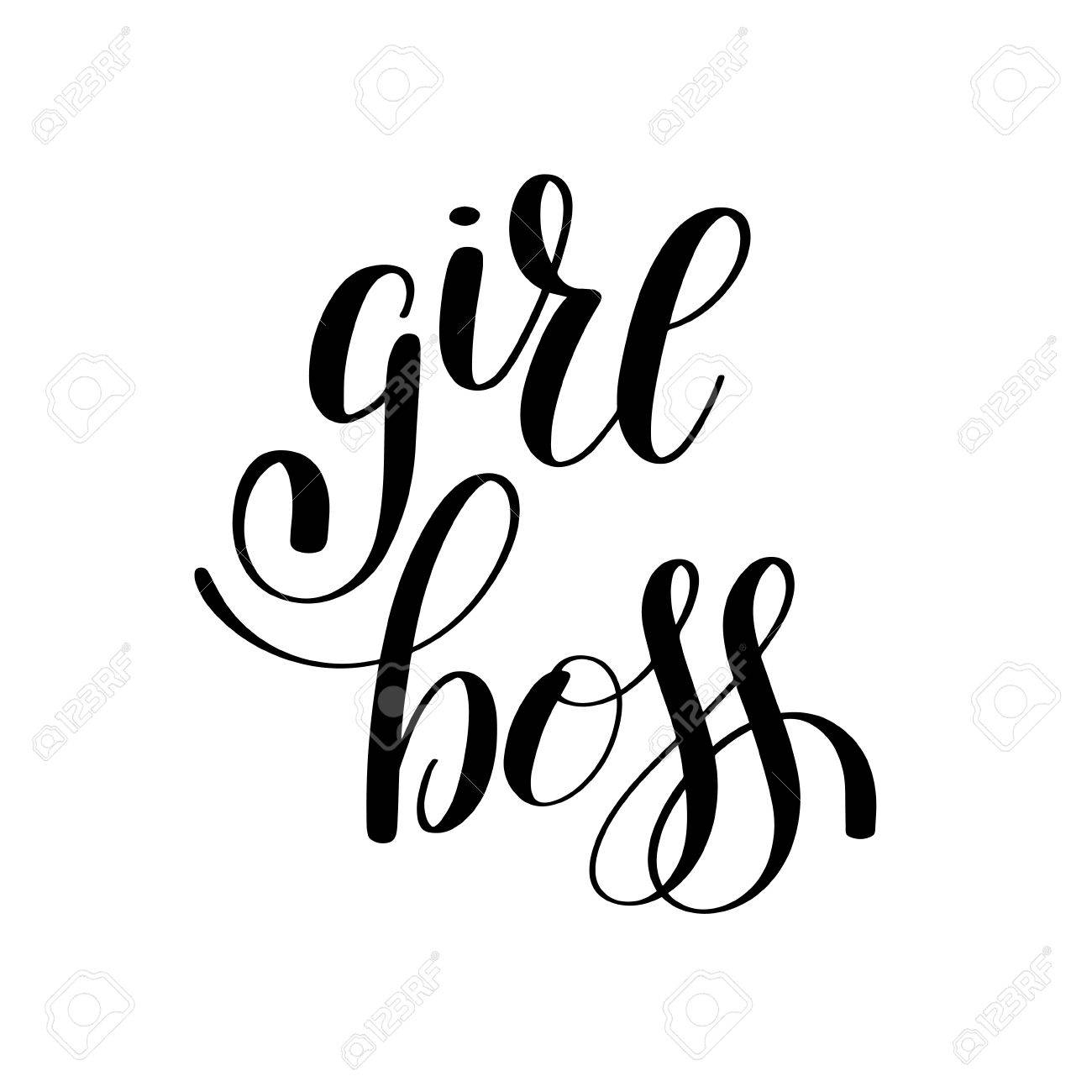 Girl Boss Handwritten Positive Inspirational Quote Brush Typography Inside Most Current Printable Wall Art (View 6 of 20)