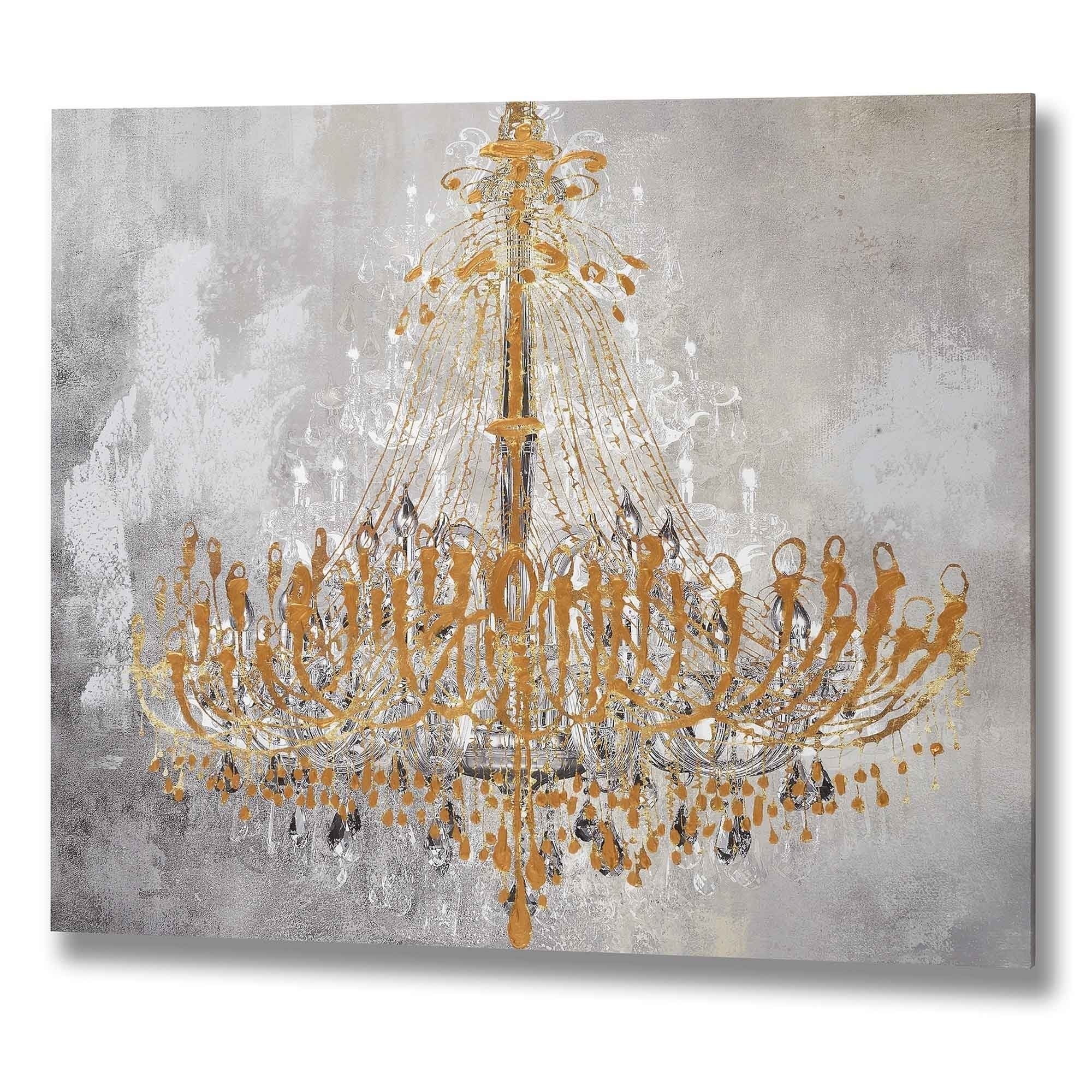 Gold Chandelier Wall Art | Painting Art | Homesdirect365 Inside 2017 Chandelier Wall Art (View 13 of 20)