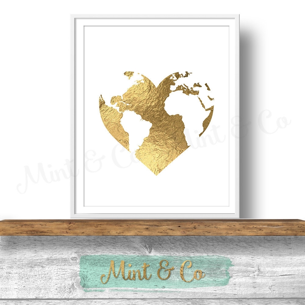 Gold Heart World Globe Printable Wall Art Decor Print, Instant Regarding 2017 Gold Foil Wall Art (View 9 of 20)