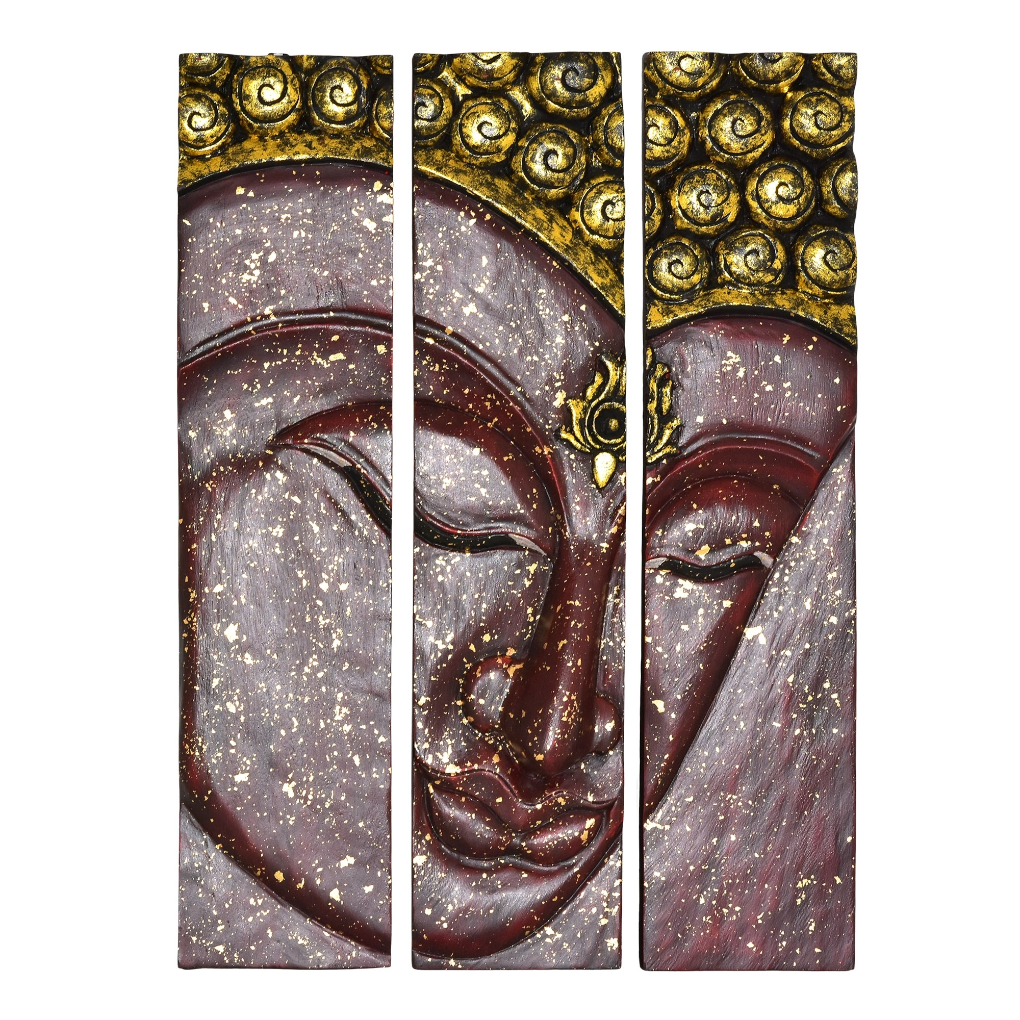 Golden Red Buddha Face Three Panel Hand Carved Wood Wall Art 20X30 Intended For Most Recent Carved Wood Wall Art (Gallery 15 of 15)