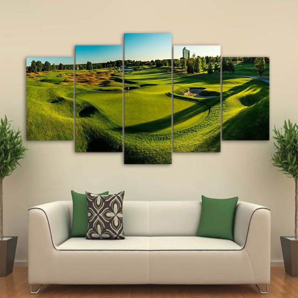 Golf Course Panorama View 5Pcs Painting Printed Canvas Wall Art Home With Regard To Most Recently Released Golf Canvas Wall Art (View 17 of 20)