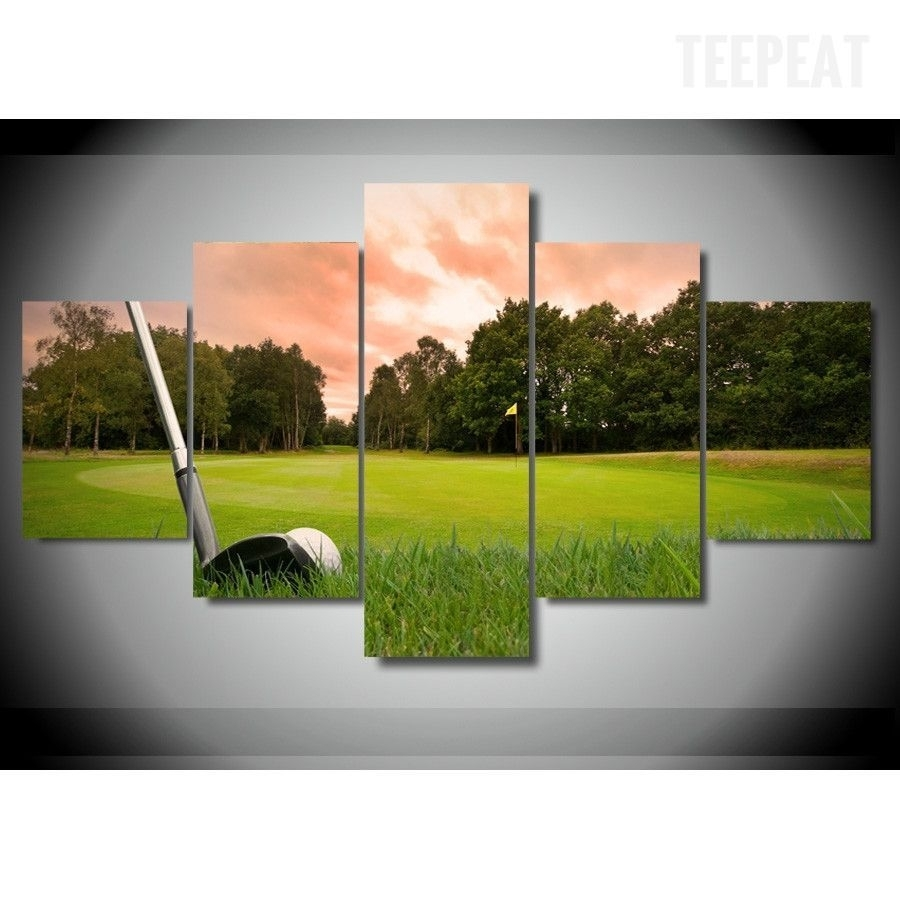 Golf Course V4 Painting – 5 Piece Canvas | Golf, Canvases And Craft Within 2018 Golf Canvas Wall Art (View 18 of 20)