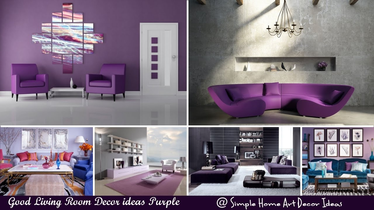 Good Living Room Decor Ideas Purple – Youtube For Most Recent Purple And Grey Wall Art (View 7 of 20)