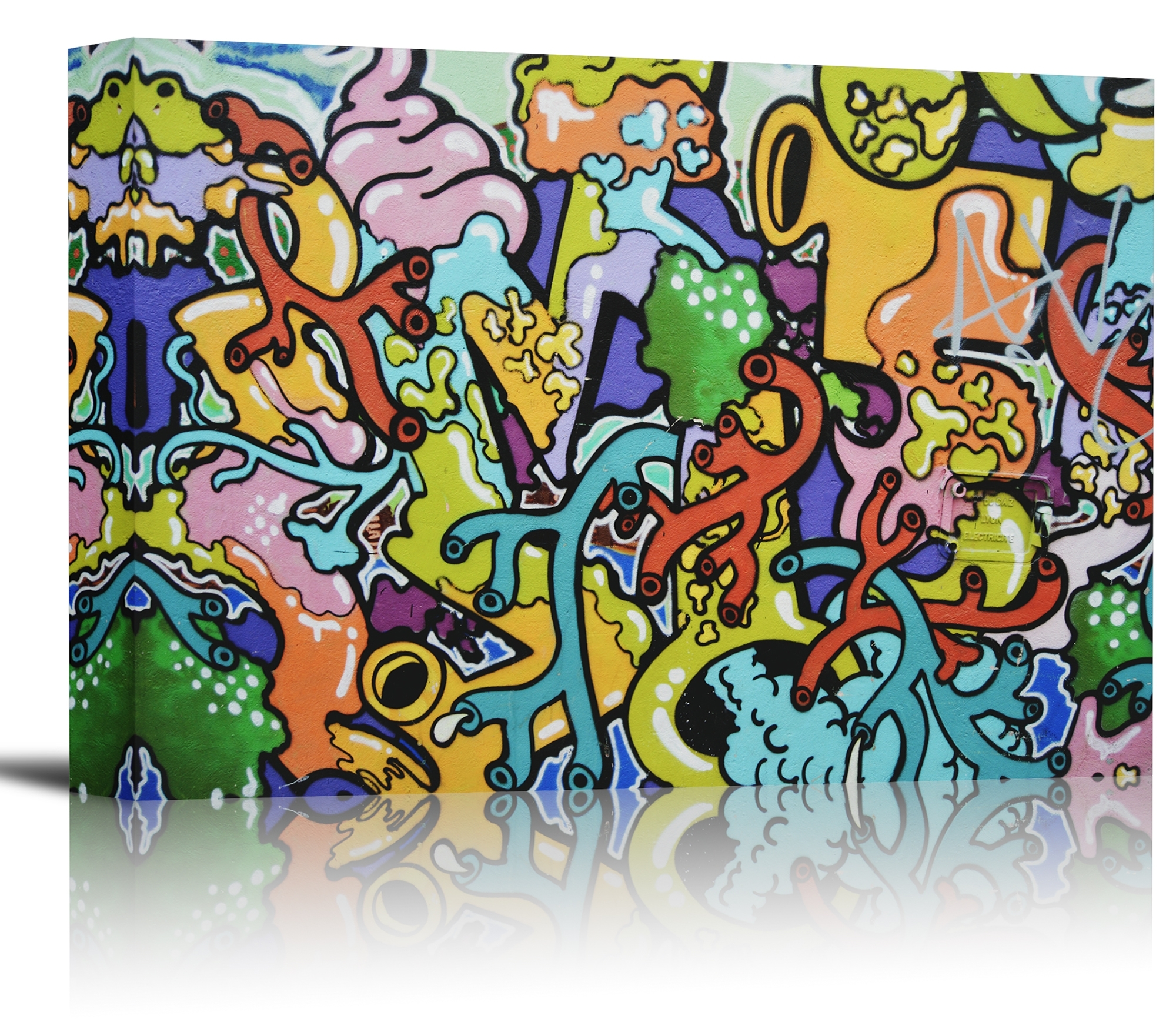 Graffiti Colorful Wall Art Print Decor Image – Canvas Stretched With Regard To Most Recently Released Colorful Wall Art (Gallery 2 of 20)