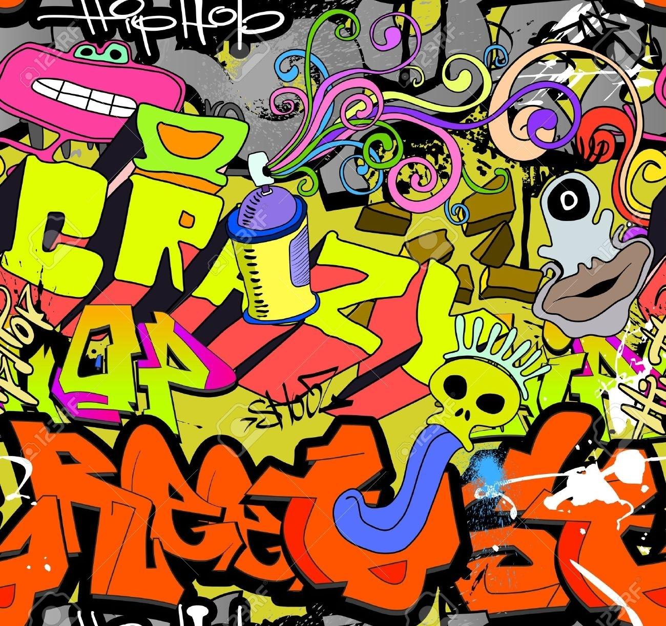 Graffiti Wall Art Background Hip Hop Style De Motif Texture Homogène Throughout Best And Newest Hip Hop Wall Art (View 4 of 15)