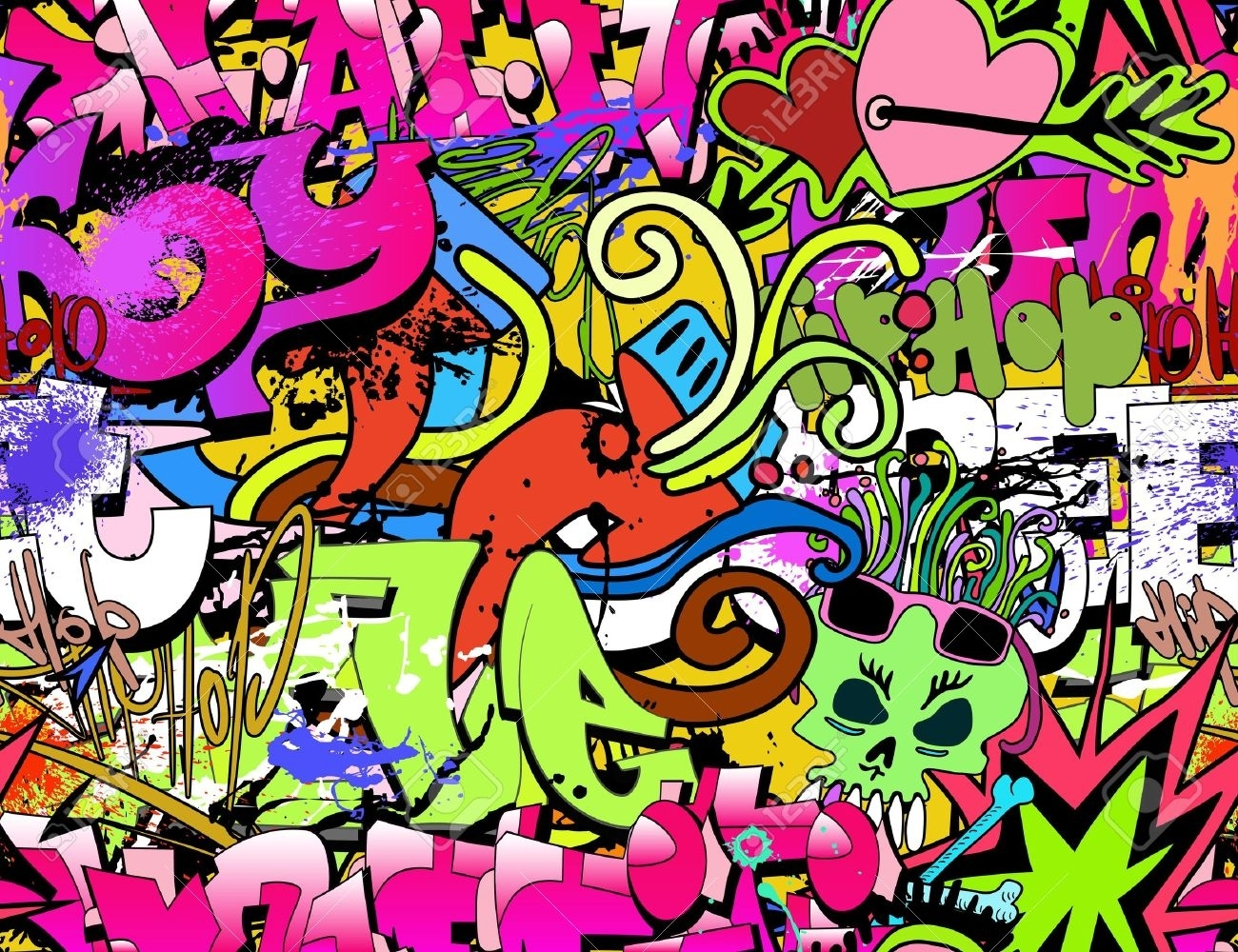 Graffiti Wall Art Background Hip Hop Style Seamless Texture Regarding Most Up To Date Hip Hop Wall Art (Gallery 4 of 15)