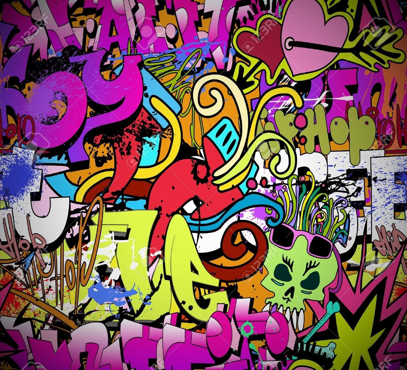 Graffiti Wall Art Background Hip Hop Style Seamless Texture With Regard To Best And Newest Hip Hop Wall Art (Gallery 1 of 15)