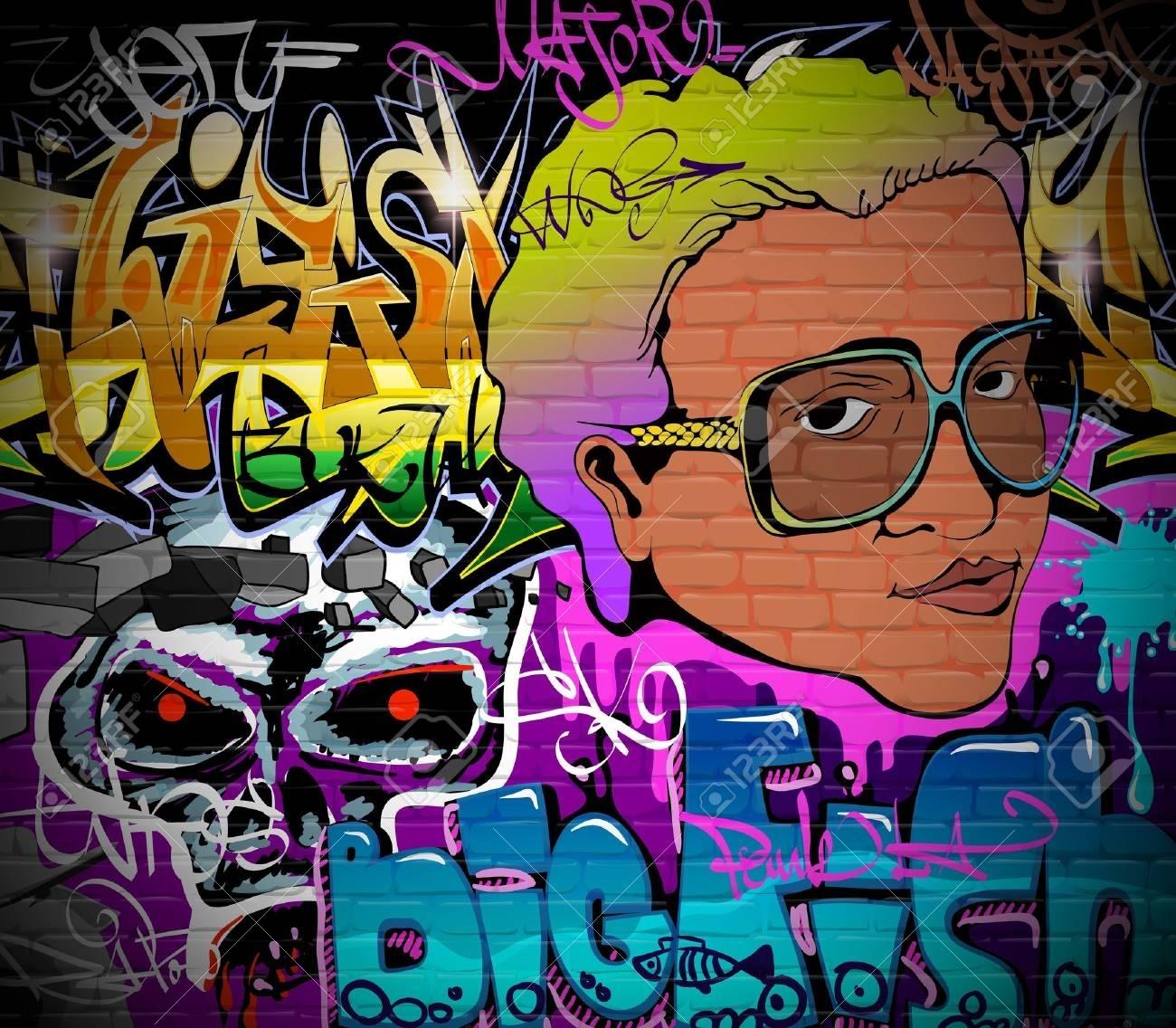 Graffiti Wall Urban Art Background Grunge Hip Hop Artistic Design In Most Popular Hip Hop Wall Art (View 7 of 15)