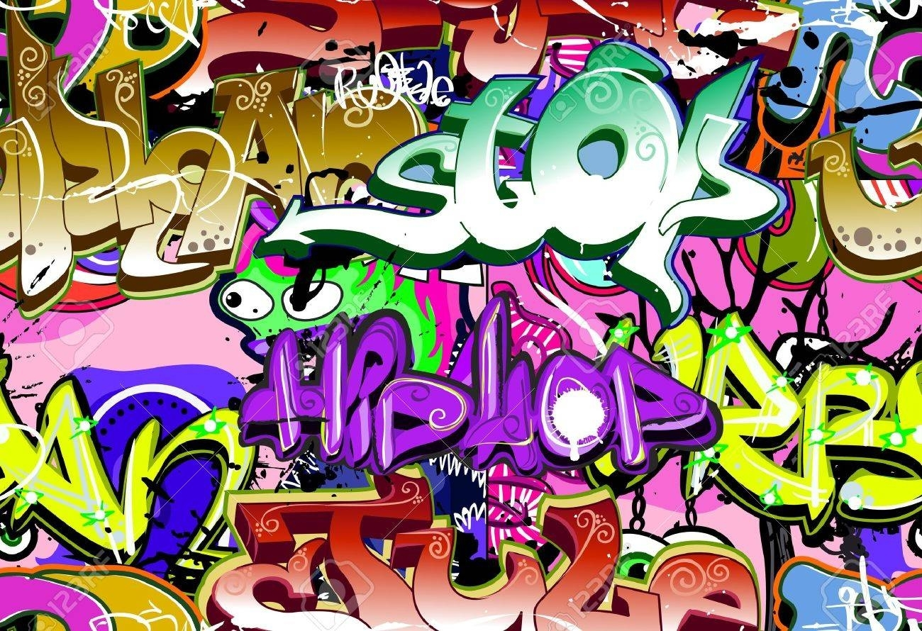 Graffiti Wall Urban Art Vector Background Seamless Hip Hop. (View 9 of 15)