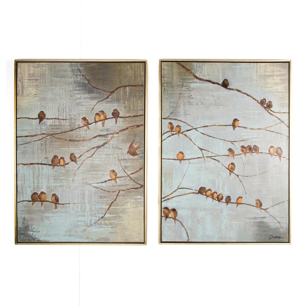 "Graham & Brown 28 In. X 39 In.""flock Of Birds"" Printed Framed Canvas Within Current Bird Framed Canvas Wall Art (Gallery 1 of 20)"