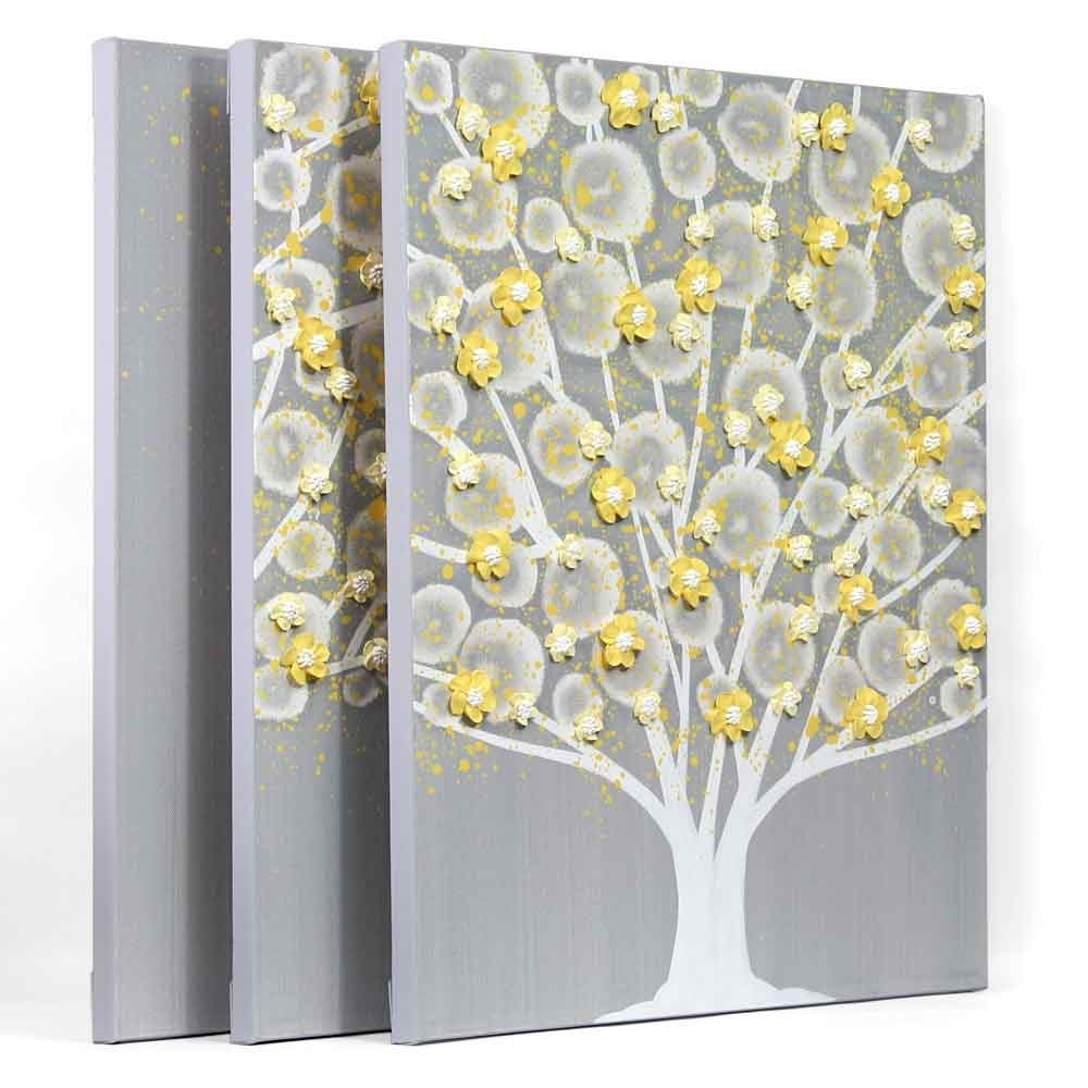 Gray And Yellow Wall Art Tree On Canvas Triptych – Large | Amborela Intended For Best And Newest Yellow Wall Art (View 7 of 20)