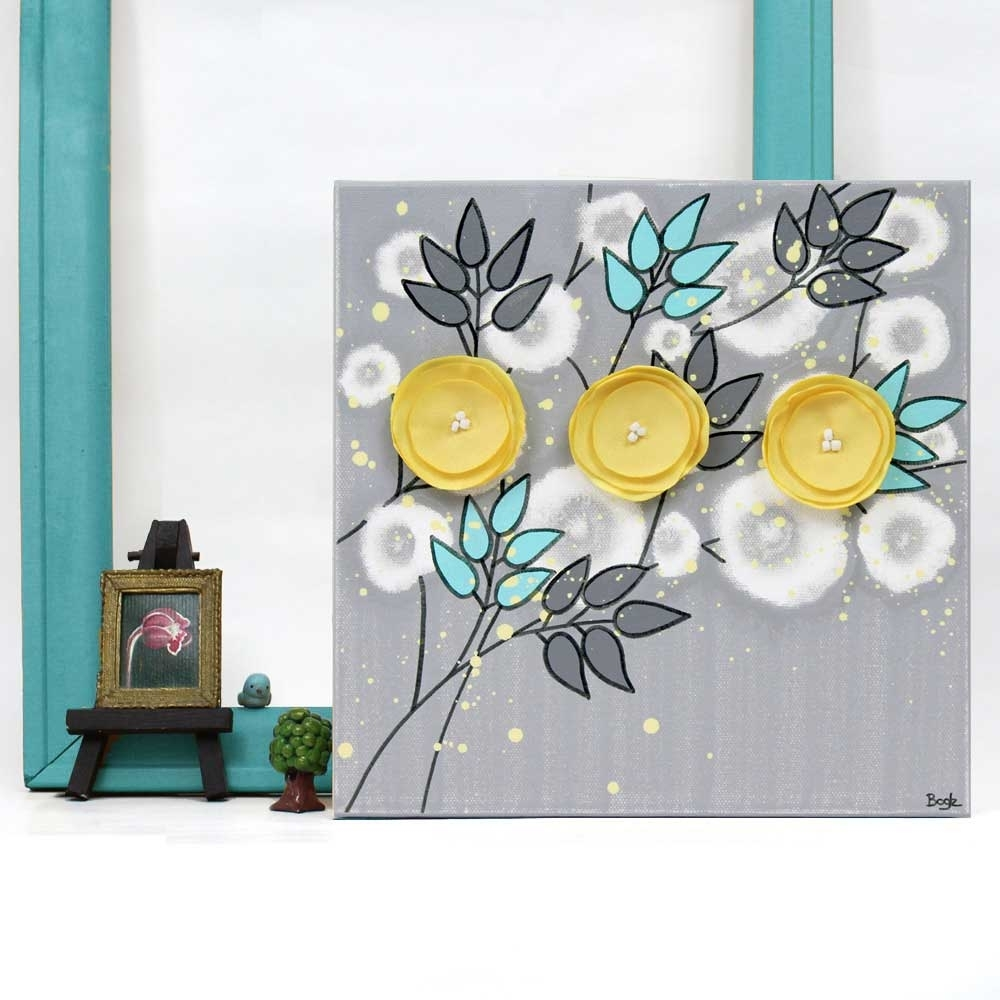 Gray Yellow Aqua Canvas Painting Of Poppy Flowers – Small | Amborela For Most Current Yellow Wall Art (Gallery 13 of 20)