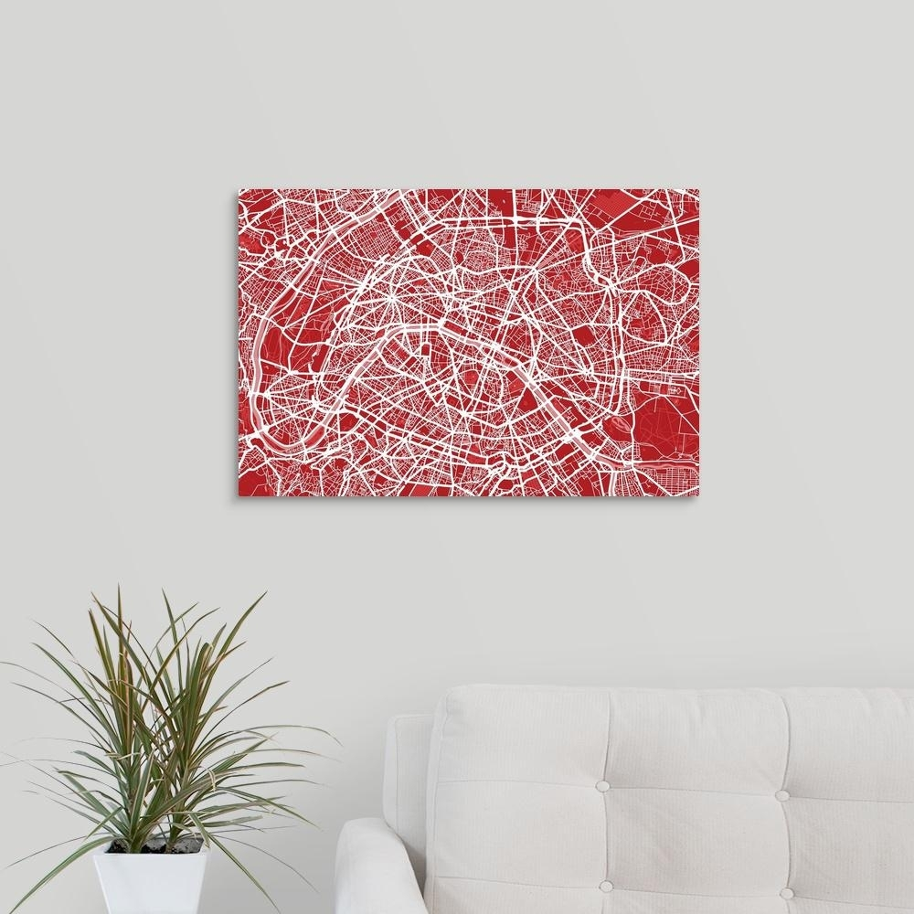 "Greatbigcanvas ""art Map Of Paris In Red""michael Tompsett Canvas Throughout Latest Map Of Paris Wall Art (View 5 of 20)"