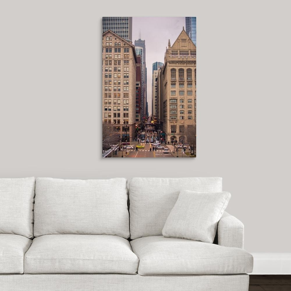 "Greatbigcanvas ""street Scene In Chicago, Illinois""circle Capture Within 2017 Chicago Wall Art (Gallery 8 of 15)"
