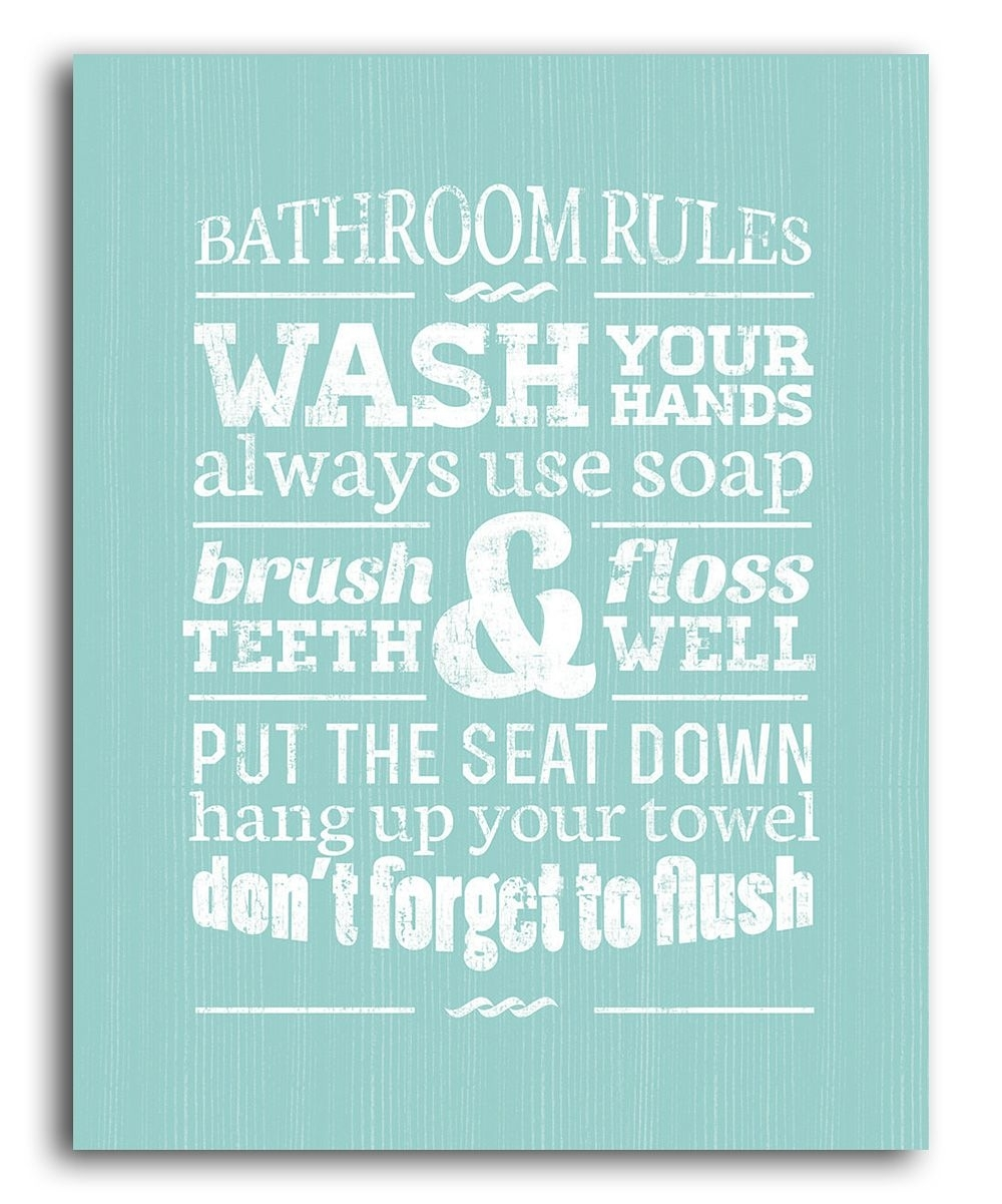 "Green Bathroom Rules Wall Art | ""fashion, Gifts & Foods – That I In 2018 Bathroom Rules Wall Art (View 3 of 20)"