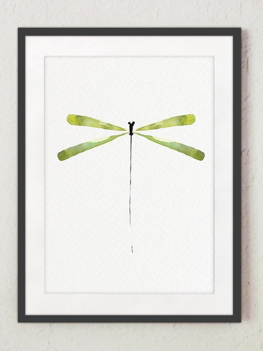 Green Dragonfly Minimalist Art Print, Peridot Watercolor Silhouette With Most Recent Dragonfly Painting Wall Art (View 11 of 20)