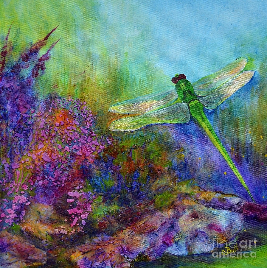 Green Dragonfly Paintingclaire Bull Inside 2018 Dragonfly Painting Wall Art (View 12 of 20)