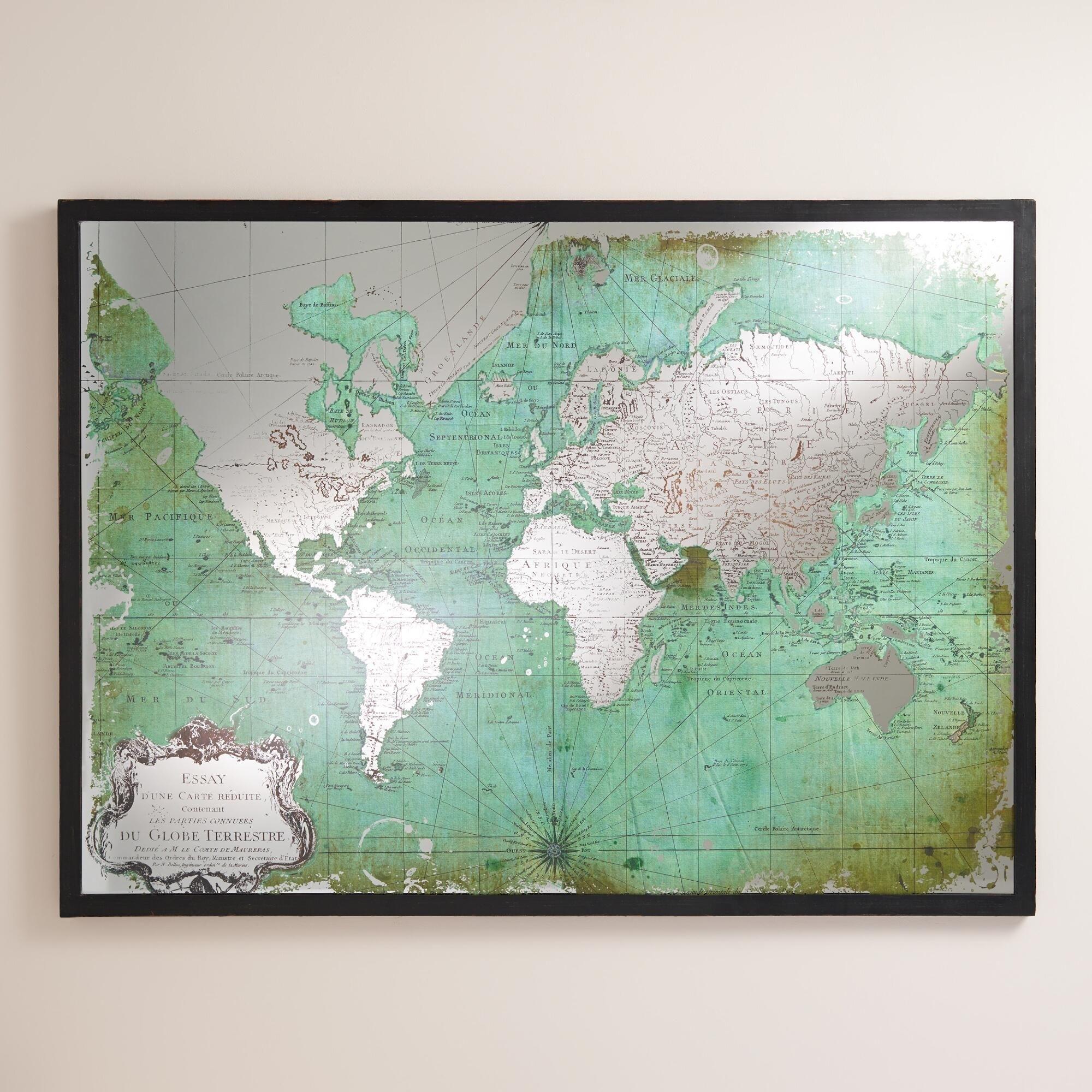 Green Mirrored World Map | World Market | Art | Pinterest | Shared In Recent World Market Wall Art (View 2 of 20)