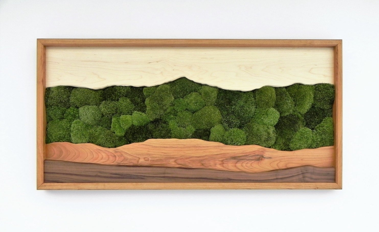 Green Mountain Moss Wall Art /sugar Maple, Cherry, Walnut, Preserved Intended For Latest Green Wall Art (Gallery 7 of 20)