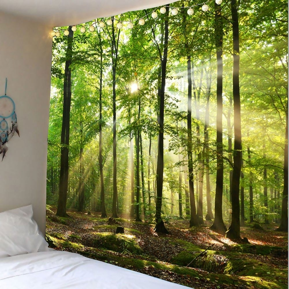 Green W91 Inch * L71 Inch Forest Sunlight Decorative Wall Art For Current Decorative Wall Art (View 10 of 20)