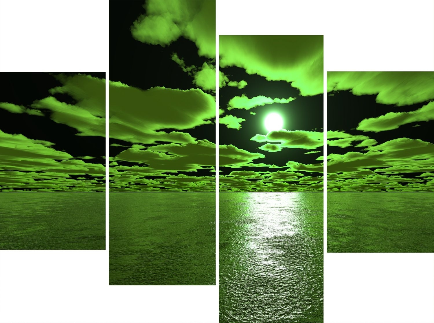 Green Wall Art Canvas Large 4 Panel Wall Art Set Green And Black Sea Intended For Latest Green Wall Art (View 10 of 20)