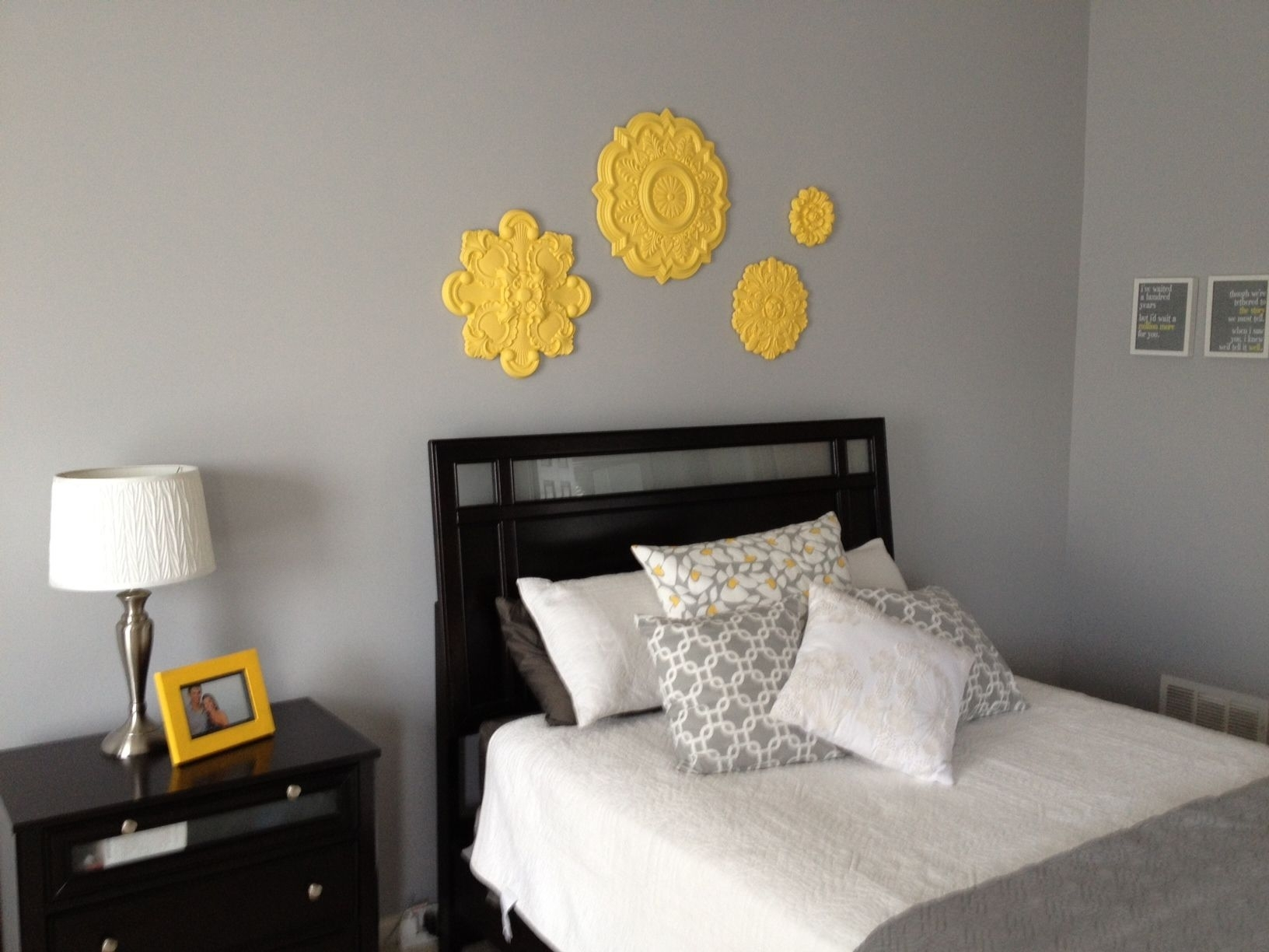 Grey And Yellow Toned Bedroom Ideas With Ceiling Medallion Wall Art In Most Recent Ceiling Medallion Wall Art (View 7 of 15)