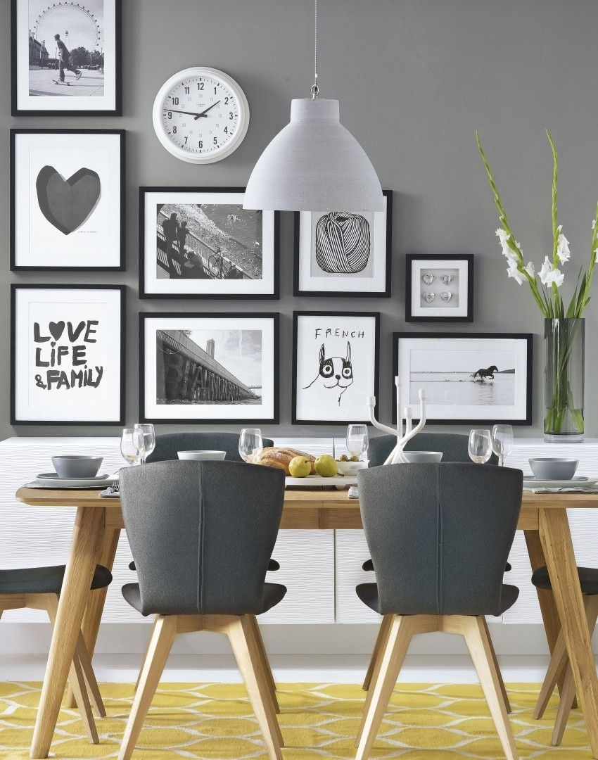 Grey Modern Dining Room With Wonderful Wall Decor Follow Adorable With Regard To 2017 Dining Room Wall Art (View 12 of 15)